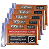 emergency space sleeping bag - TITAN Two-Sided Mylar Emergency Survival Space Blankets, 5-Pack | Safety-Orange (27-000002)
