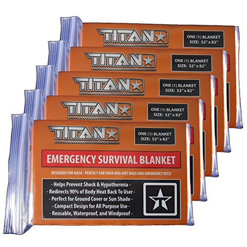 Two Sided Mylar Foil (TITAN Two-Sided Mylar Emergency Survival Space Blankets, 5-Pack | Safety-Orange (27-000002))