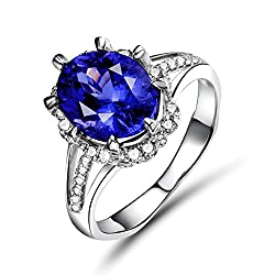 White Gold With Tanzanite Real Diamond Ring