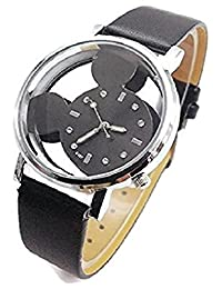 Mickey Mouse Quartz Digital Hollow Women's Watch Black/Black