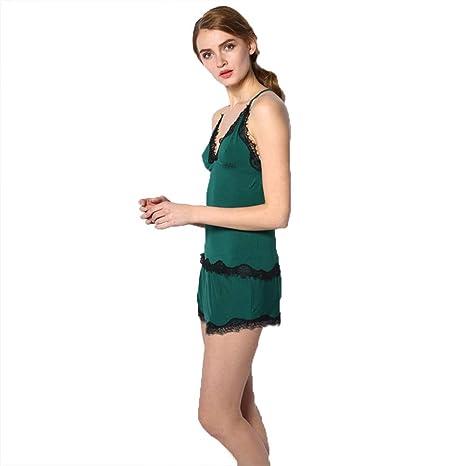 4c3adbce5 NN IKEA Cotton Pyjamas Short Women Modal Pajama Set Lace Camisole Soft  Sleepwear Deep V Sexy