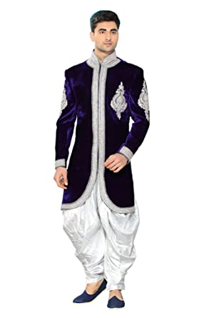 34c34ed450 Srajan Wedding Party Wear Designer Blue Velvet Sherwani With Dhoti Style  White Trouser & Matching Shoes