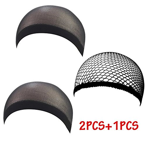 Brendacosmetic Pack of 3 Neutral Cool Mech Wig Cap and Nylon Wig Cap for Better Wearing Wig ,Stretch Cover Wig Cap for Protecting Head and (Deluxe Brown Dreadlock Wig)