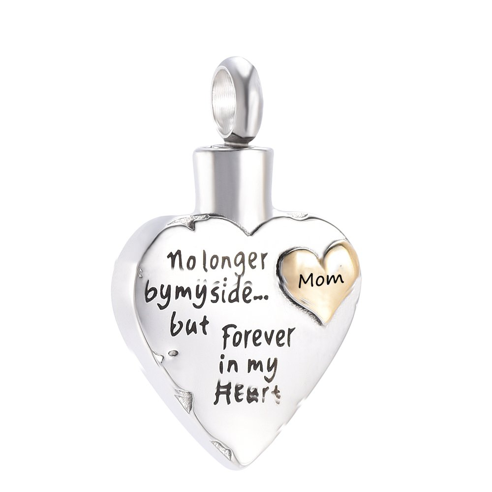 constantlife Dad Memorial Jewelry Love Heart Keepsake Urn Necklace Stainless Steel Cremation Urns Keepsakes Jewelry for HumanAshes (Silver-Gold-Mom)