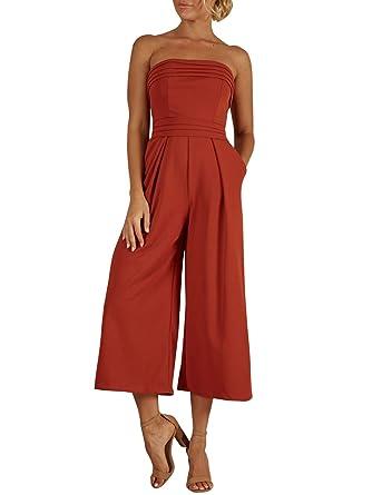b8a7a8e69a0 BerryGo Women's Sexy Off Shoulder Wide Leg Jumpsuit Sleeveless Long Pants  Romper Brick Red-S