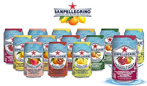 San Pellegrino Sparkling Fruit Beverages - All Flavor Variety Pack (Sampler), 11.15 Fl Oz Cans, Naturally Flavored Sparkling Water | 7 Flavors - Pack of 14