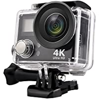 GordVE GVE217 HD 4K WIFI Sports Action Camera Waterproof DV Camcorder with 2 Inch LCD Screen/2.4G Remote Control/2 Batteries/Desktop Charger, Travelling Bag Include Various Practical Accessories