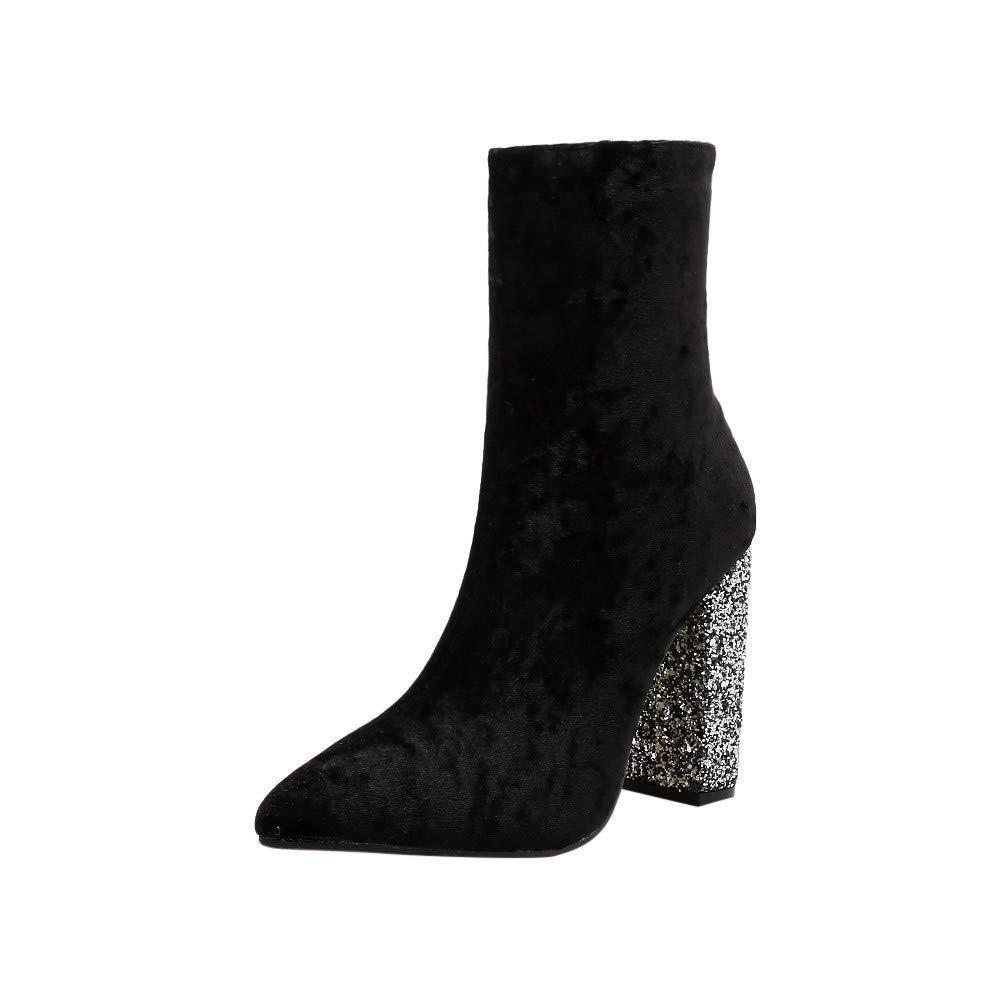 HhGold Stiefel Frauen Schuhe Stiefeletten Mode Frauen Damenmode Glänzende Starke Ferse Schuhe Spitz High Heel Zipper Martin Stiefel (Farbe   Schwarz Größe   37)