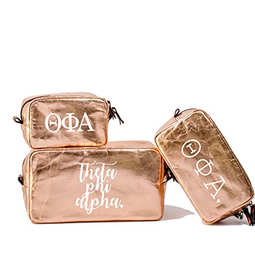 A-List Greek Cosmetic Bag Theta Phi Alpha Sorority Travel Set of 3 - White Greeks Letter Design | Ideal to store Makeup, Jewelry & Other Accessories - Perfect Gift for any Sorority Girl -