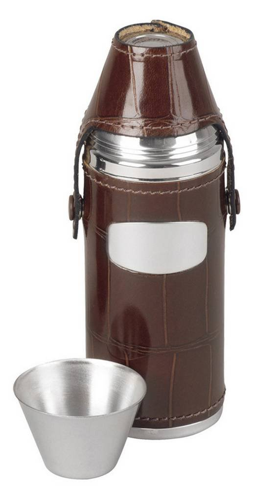 Brown/Silver 8oz 4 Cup Hunting Flask by Orton West
