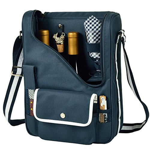 Picnic at Ascot Wine and Cheese Cooler Bag Equipped for 2 with Glasses, Napkins, Cutting Board, Corkscrew, etc.  - Navy - Wine Backpack