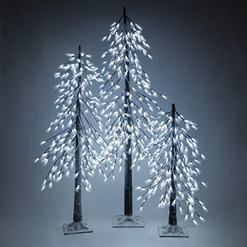 Cool White LED Frosted Tree - Alpine Tree - Lighted Tree Decor (3 Ft, 180 Lights)