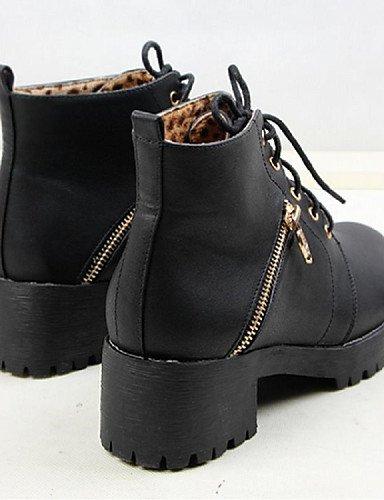 Y Zapatos De Eu39 Robusto Sintético Trabajo Mujer Tacón Exterior Anfibias Botas Uk6 Cuero Xzz casual Cn39 Negro oficina us8 Black PdwTqx4c5c