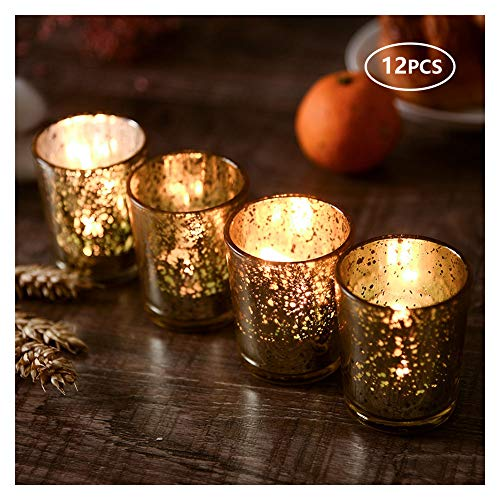 SUPREME LIGHTS Votive Candle Holders 12 Pack Gold Glass Tealight Holders for Weddings, Parties and Home Decor (Holders Light Tea Mercury Glass)