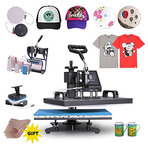 VEVOR Heat Presses 12 X 15 Inch 8 in 1 Digital Multifunctional Sublimation T Shirt Heat Press Machine 900W 360 Degree Rotation Heat Press Machine for T Shirts Hat Mug Cap Plate (12x15INCH 8IN1 Blue)