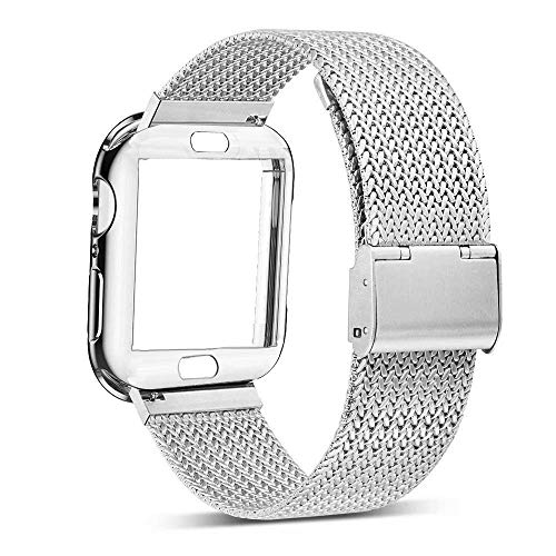 HorBous Milanese Loop Compatible for iWatch Band 38MM 42MM 40MM 44MM Milanese Loop Magnetic Closure Stainless Steel Mesh Band Bracelet for iwatch Band Series 4 3 2 1 with Case Cover (38mm, Silver)