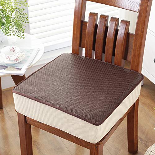 (YQ WHJB Summer Seat Cushioning,Booster Cushion,Square Car Diningsponge Rattan Mat Cool Breathable Universal Buttocks Cushions Chair Pad-N)