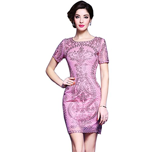 Dresses Short Gowm Sleeve Women`s Formal Round for Slim fit Neck cotyledon wtp1x