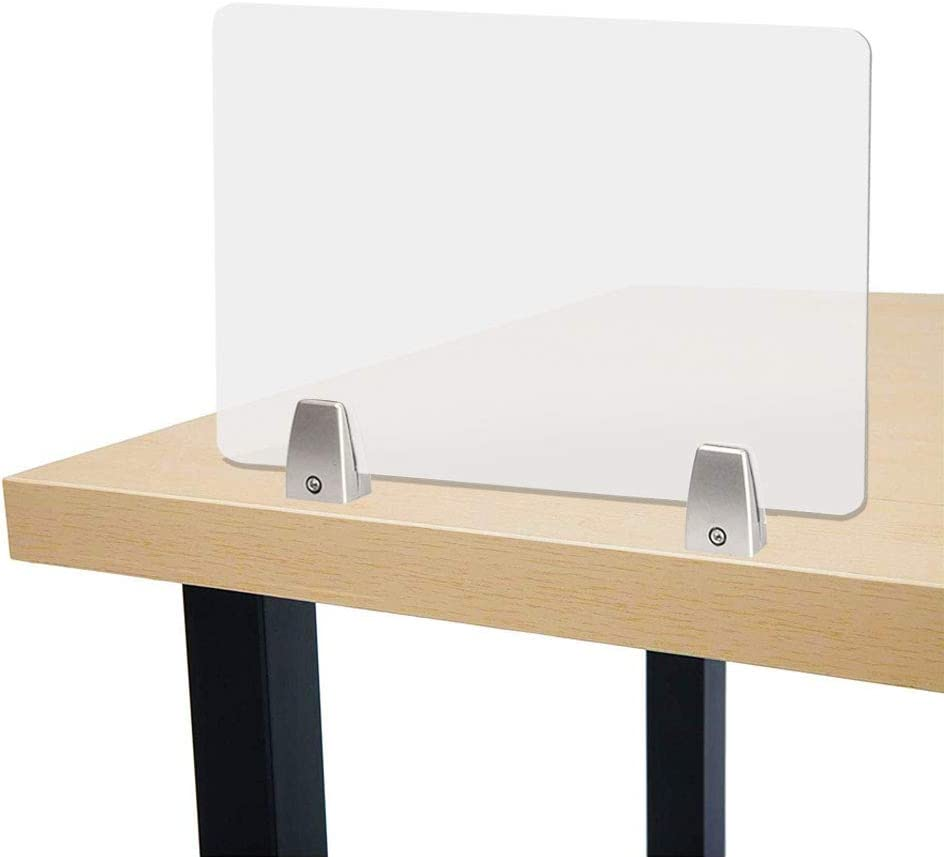 "Owfeel 20"" L×16"" Acoustic Desk Divider Frosted Desktop Mounted Privacy Panel, Reduce Noise & Visual Distractions for Offices, Libraries, Classrooms (Not Include Clip) (20"" L×16"")"