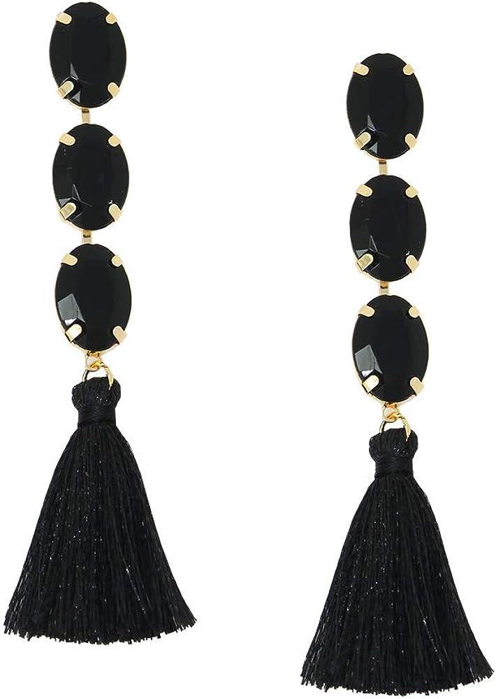 Rhinestone Crystal Bohemian LongTassel Dangle Earrings Drop Tiered Thread Statement Earrings Women Girls Chandelier Filigree Charm Ethnic Fringe Statement Tribal Soriee Fashion Lady Earring