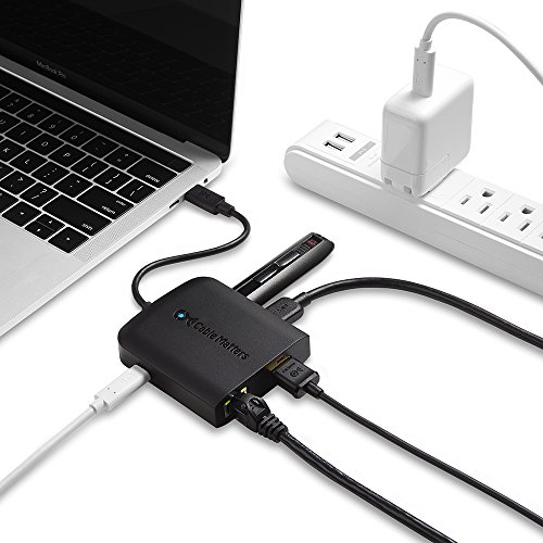 Cable Matters USB C Multiport Adapter (USB C Dock with USB C to HDMI 4K), 2x USB 3.0, Gigabit Ethernet, and 60W PD in Black - USB-C & Thunderbolt 3 Port Compatible for MacBook Pro, Dell XPS and More by Cable Matters (Image #4)