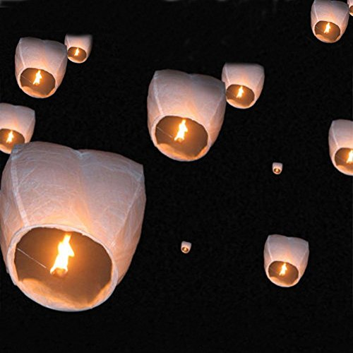 10 PCS Chinese Sky Lanterns Wishing Lantern for Birthdays, Holidays, Weddings, Party (white)