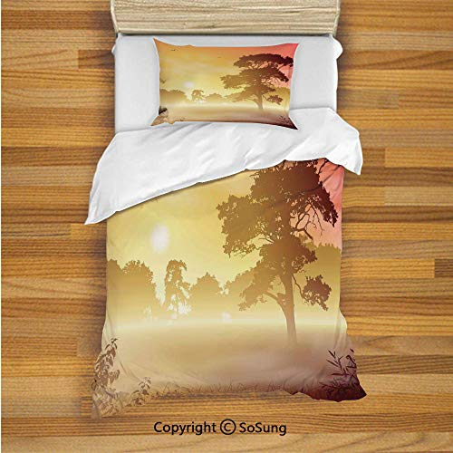 SoSung Tree Kids Duvet Cover Set Twin Size, Majestic Old Big Tree Landscape in Intense Sun Beams Woodland Magical Scenery 2 Piece Bedding Set with 1 Pillow Sham,Red Yellow Brown ()