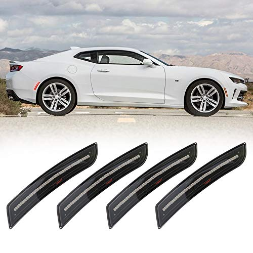 BUNKER INDUST Smoked LED Sidemarkers Front Amber Rear Red LED Side Marker Lights Kit for 2016-up Chevy Camaro ()