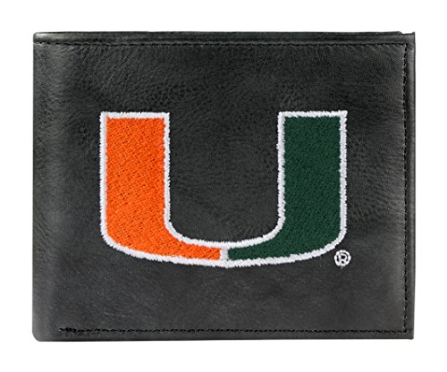 - NCAA Miami Hurricanes Embroidered Leather Billfold Wallet