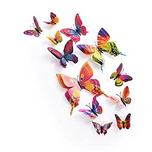 12 Home Decoration Stereo Double 3D Butterfly Wall Stickers Jewelry Bedroom Window Stickers TV Background Stickers Home Decorative Wall sticker