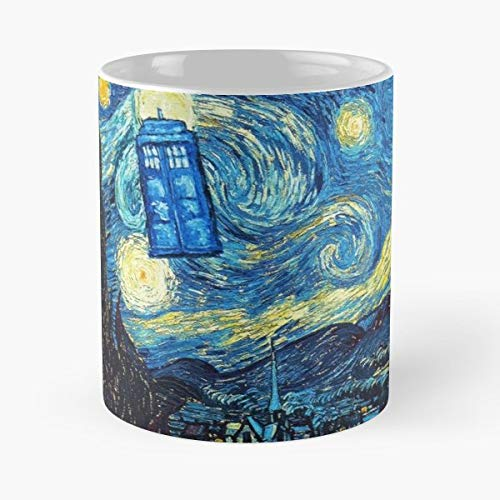Starry Night Tardis Dr Who Doctor - Coffee Mugs Unique Ceramic Novelty Cup For Holiday Days 11 Oz.
