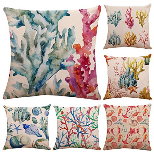 Polyester Sea Theme Throw Pillow Case,Mediterranean Style Decorative Square Cushion Cover 18