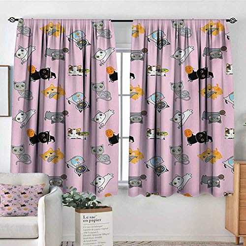 Crewel Drape - Cat Patterned Drape for Glass Door Colorful Cute Kittens Playing with Fish Mice and Yarnball Different Breeds of Feline Customized Curtains 72