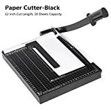 Black Guillotine Paper Cutter Machine, Heavy Duty Guillotine Cutting Blade Gridded Metal Base Photo Paper Trimmer, 12 inch Cut length, 10-sheet Capacity for Home/Office -US STOCK (A4-Black-300X250cm)