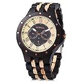 Bewell W116C Mens Wooden Watch with Date Day Luminous Hands Lightweight Wristwatch