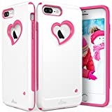 "iPhone 7 Plus Case, Vena [vLove][Heart-Shape | Dual Layer Protection] Hybrid Bumper Cover for Apple iPhone 7 Plus (5.5""-inch) (White/Pink) (Wireless Phone Accessory)"