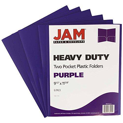 JAM PAPER Heavy Duty Plastic 2 Pocket School Folders - Purple - 6/Pack