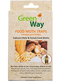 GreenWay Food Moth Trap - Contains 2 Traps and Lures per Box | Pheromone Attractant,