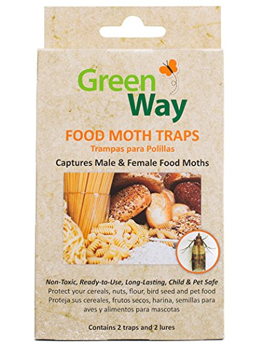 - GreenWay Food Moth Trap - Contains 2 Traps and Lures per Box | Pheromone Attractant, Ready to Use | Safe, Non-Toxic with No Insecticides or Odor, Eco Friendly, Kid and Pet Safe