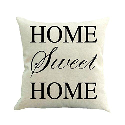 Black White Letters Cotton Linen Square Throw Pillow Cover C