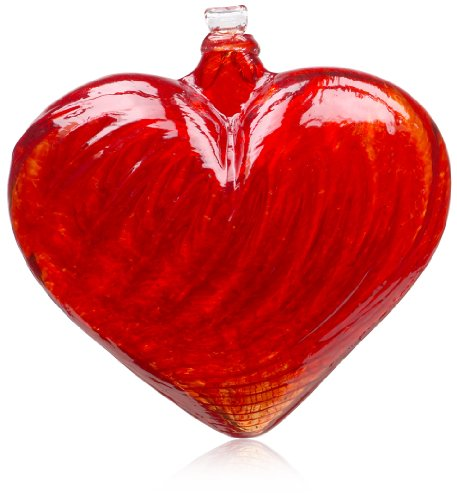 Kitras 3-Inch Heart Shaped Glass Ornament, Red -