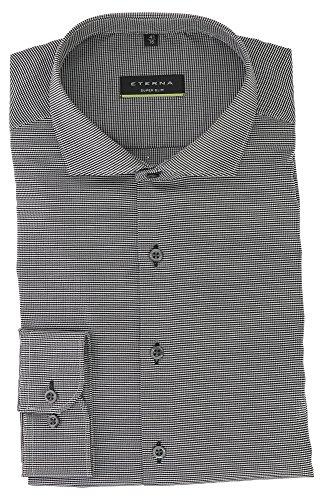 ETERNA Herren Langarm Hemd aus 100% Baumwolle Super Slim mit Hai Kragen schlanker Schnitt Gr. 36 Schwarz Strukturiert