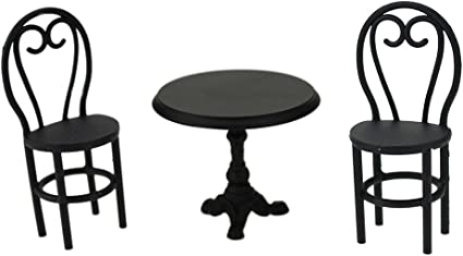 Black Table and 4 Chairs Set 1:12 Dollhouse Miniature Furniture Iron Metal 5PCS