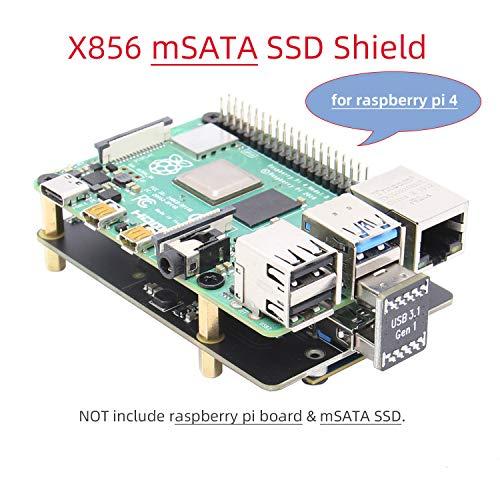 Geekworm Raspberry Pi 4 mSATA SSD Adapter, Raspberry Pi 4 Model B X856 mSATA SSD Expansion Board USB3.0 Module for Raspberry Pi 4B