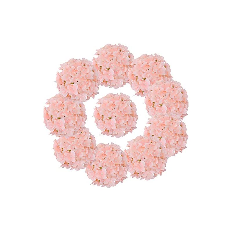 silk flower arrangements lushidi silk hydrangea heads with stems artificial flowers heads for home wedding decor,pack of 10 (baby pink)