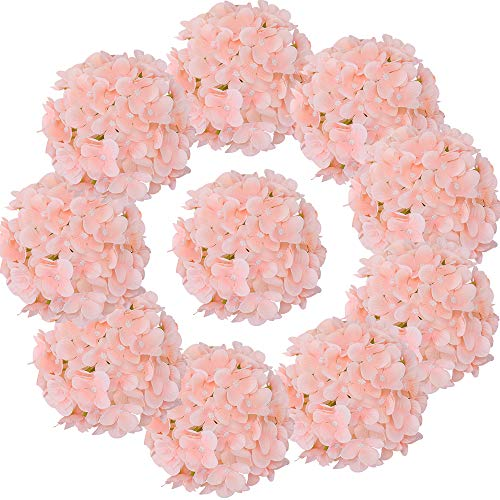 LUSHIDI Silk Hydrangea Heads with Stems Artificial Flowers Heads for Home Wedding Decor,Pack of 10 (Peach Pink) ()