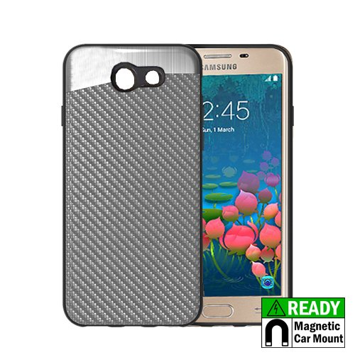Cell Accessories For Less (TM) Samsung Galaxy J7 Prime J727T - Hybrid Hard Magnetic Ready Case Cover - Silver Carbon Fiber Bundle (Stylus & Micro Cleaning Cloth) - By TheTargetBuys