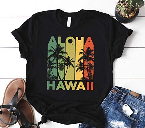238b16f0 Aloha Hawaii Hawaiian Island T Shirt Vintage 1980s Throwback T Shirt Women  Tees Black