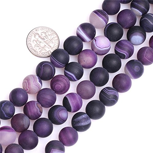 """10mm Natural Semi Precious Round Frost Banded Purple Agate Gemstone Beads for Jewelry Making Strand 15"""""""