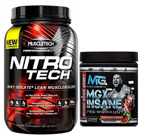 MuscleTech Nitrotech Lean Muscle Builder Whey Isolate Protein Powder, 4lb, Vanilla Birthday Cake + MGX Insane Pre-Workout Energy & Endurances booster, 438 Grams Watermelon by MuscleTech Nitrotech/MGX Nutrition